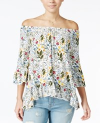One Hart Juniors' Ruffled Off The Shoulder Top Only At Macy's Ultramarine