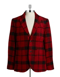 Brooks Brothers Red Fleece Plaid Wool Blazer Red