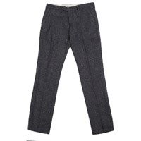 Knowledge Cotton Apparel Navy Checked Wool Trousers