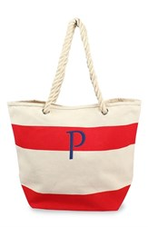 Cathy's Concepts Personalized Stripe Canvas Tote Red Red P