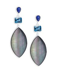 Stephen Dweck Mother Of Pearl London Blue Topaz Crystal Lapis Lazuli Quartz And Sterling Silver Drop Earrings White