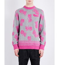 Sacai Pineapple Embroidered Jumper Gray X Pink