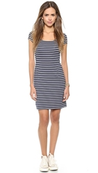 Three Dots Nautical Stripe Dress Navy White