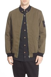 Thing Thing 'The Narc' Collarless Bomber Jacket Green