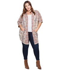 Lucky Brand Plus Size Diamond Pattern Cardigan Natural Multi Women's Sweater
