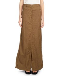 Dries Van Noten Silvan Cotton Linen Maxi Skirt Brown