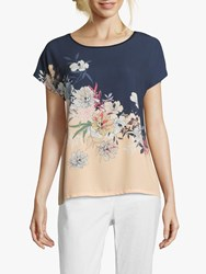 Betty And Co. Floral Printed Round Neck Top Blue Apricot