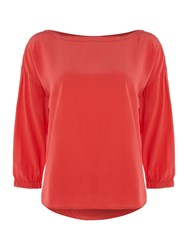 Marella Victor Silk Pleat Back Top Coral