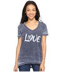 Allen Allen Love Print High Low Tee Lapis Women's T Shirt Navy