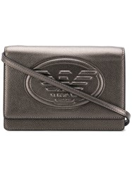Emporio Armani Embossed Logo Cross Body Bag Metallic