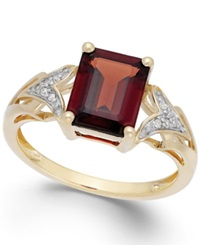 Macy's Garnet 2 1 2 Ct. T.W. And Diamond Accent Ring In 14K Gold Yellow Gold
