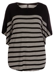 Evans Plus Size Black White Stripe Cape Top Monochrome