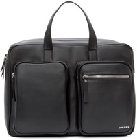Diesel Black Leather Crash Briefcase