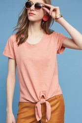 Anthropologie Lea Tie Front Tee Coral