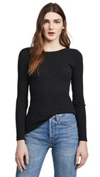 Enza Costa Cashmere Ribbed Crew Top Charcoal