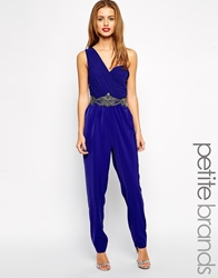 Little Mistress Petite One Shoulder Embellished Waist Jumpsuit Cobalt