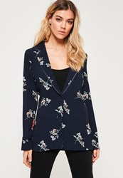 Missguided Blue Ditsy Floral Print Crepe Blazer Navy