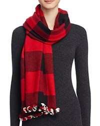Aqua Color Block Scarf With Pom Poms 100 Bloomingdale's Exclusive Red Black