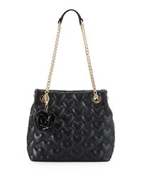 Betsey Johnson Bee Mine Heart Quilted Shopper Bag Black