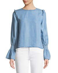 Philosophy Flounce Sleeve Chambray Blouse Blue