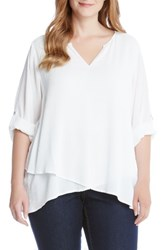 Karen Kane Plus Size Women's Asymmetrical Wrap Front Top Off White