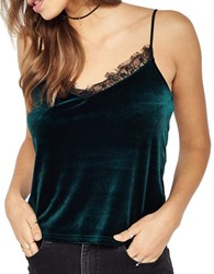 Miss Selfridge Velvet And Lace Camisole Dark Green