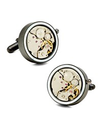 Watch Movement Cuff Links Black Ravi Ratan Grey
