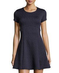 Neiman Marcus Fit And Flare Quilted Dress Navy