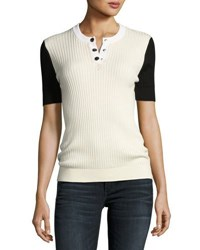 Courreges Short Sleeve Ribbed Knit Top White Black White Black