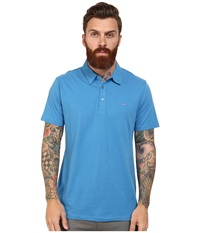 Rvca Sure Thing Polo Shirt Acid Wash Blue Men's Short Sleeve Pullover