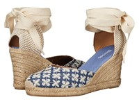 Soludos Pattern Tall Wedge Denim Women's Wedge Shoes Blue