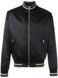 Maison Martin Margiela Metallic Striped Trim Bomber Jacket Black
