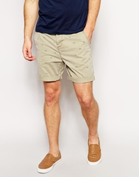 Asos Chino Shorts In Mid Length With Stars And Stripes Stone