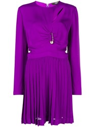 Versus Pin Embellished Pleated Dress Pink And Purple