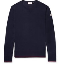 Moncler Slim Fit Stripe Trimmed Virgin Wool Sweater Navy