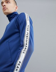 Peak Performance Tech Club Tricot Taped Track Jacket In Navy 2Ar Thermal Blue