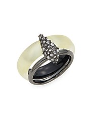 Alexis Bittar Lucite And Swarovski Crystal Movable Band Ring Ivory