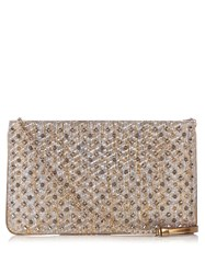 Christian Louboutin Loubiposh Spike Embellished Raffia Clutch Gold Multi