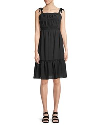 Cupcakes And Cashmere Tie Shoulder Sleeveless Pleated Dress Black