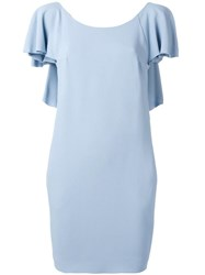 Dondup Open Ruffled Back Dress Blue