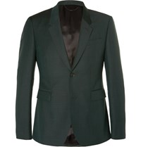 Burberry Dark Green Slim Fit Mohair And Wool Blend Suit Jacket Dark Green