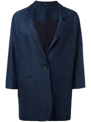 Tagliatore Cropped Sleeve Overcoat Blue