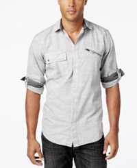 Inc International Concepts Men's Rango Roll Tab Long Sleeve Shirt Only At Macy's Stucco Grey