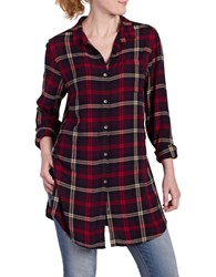 Jag Magnolia Plaid Long Sleeve Shirt Burgundy