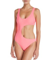 Stella Mccartney 90S Fluo Scoop Neck Cutout One Piece Swimsuit Pink