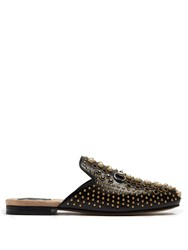Gucci Princetown Embellished Leather Backless Loafers Black