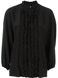 Dolce And Gabbana Frill Placket Blouse Black