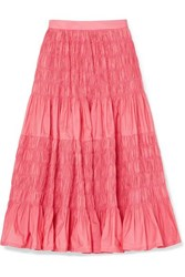 Molly Goddard Helene Tiered Shirred Taffeta Midi Skirt Pink