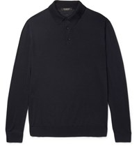 Ermenegildo Zegna Slim Fit Merino Wool Polo Shirt Navy