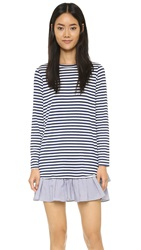 Clu Long Sleeve Ruffle Tee Dress Navy Stripe